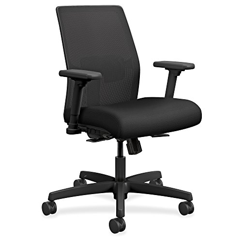 Low Back Guest Chair - HON I2L1AMLC10TK Ignition 2.0 Ilira-Stretch Low-Back Mesh Task Chair, Black Fabric Upholstery