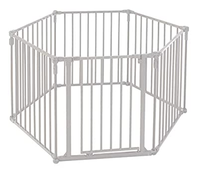"""North States 3-in-1 Metal Superyard - 151"""" Long Play Yard: Create an extra-wide gate or a play yard. Hardware mount or freestanding. 6 panels, 10 sq. ft. enclosure (30"""" tall, Beige)"""
