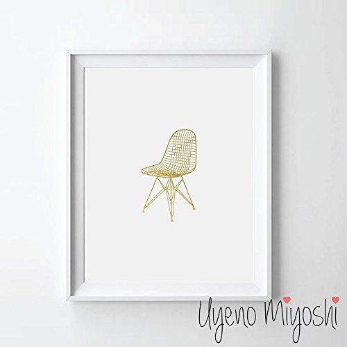 Eames Vitra DKR Wire Chair Gold Foil Art Print Chair Gold Print Home Nursery Room Wall Art Decor Gold Print