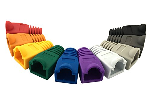 Accessbuy 100 Pcs Mixed Color CAT5E CAT6 RJ45 Ethernet Network Cable Strain Relief Boots Cable Connector Plug Cover 3 The RJ45 boots cover protects RJ45 connectors from dust and Oxidation extending the RJ plug's life time. Size: 2.7*1.5*1.6cm Multiple color for your options-white, gray, red, black, purple, blue, green, yellow, orange, dark gray.