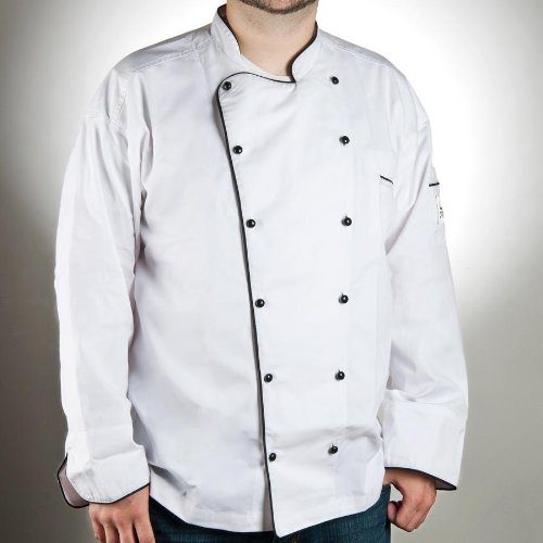 San Jamar JB044 Chef-tex Poly Cotton Breeze Brigade Jacket with Black Piping and Cloth Covered Button, 5X-Large, White by San Jamar