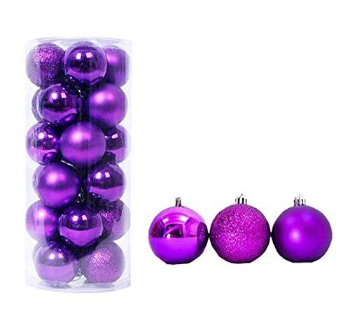 - MYtodo Christmas Ball Ornaments Plating Ball Xmas Tree Festival Pendant 24-pack (Purple)