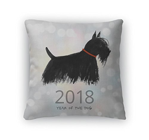 Gear New Throw Pillow Accent Decor, New Year Greeting Card With A Dog, 20