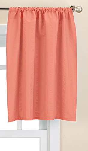 Lorraine Home Fashions Seersucker Solid Color Tailored Window Tier, 56 X 24  Inch , Coral