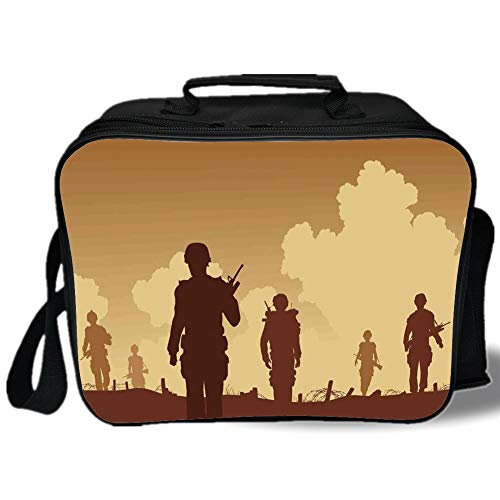 Insulated Lunch Bag,War Home Decor,Soldier Shadows with Military Costumes and Weapons Walking on Patrol Print,Brown Cream,for Work/School/Picnic, Grey