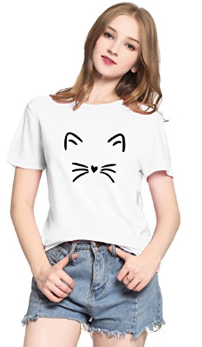 PINJIA Womens Cute Letter Printed Graphic Funny CAT FACE Tshirts Top Tees(MX15)(S, White Cat) ()