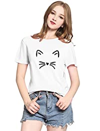 PINJIA Womens Cute Letter Printed Graphic Funny Cat Tshirts and Sweatshirt