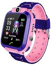 VKTY Kids Smart Phone Watch, GSM LBS Kinderen Tracker Horloge IP67 Waterdichte SIM-kaart Horloge Telefoon Dual-Way Call Smartwatch voor Kids Peuter Elementaire Studenten, Roze