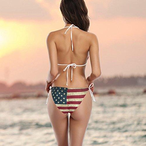Bikini Bandera American De Alaza Piezas Dos Ba Mujer Traje o Multicolor Vintage gdHxqw