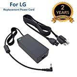 for LG 19V LED LCD Monitor Widescreen HDTV Power Cord Replacement Charger Adapter for 19' 20' 22' 23' 24' 27' Power Supply, 19V, AC, DC, 8.5Ft.