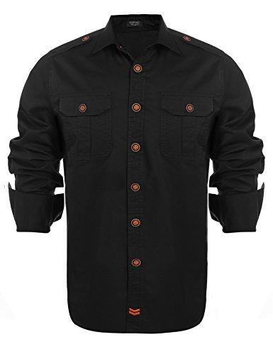 Detailorpin Mens Classic Business Vertical Striped Dress Shirts Long Sleeve Print Button Down Shirt Wrinkle-Free