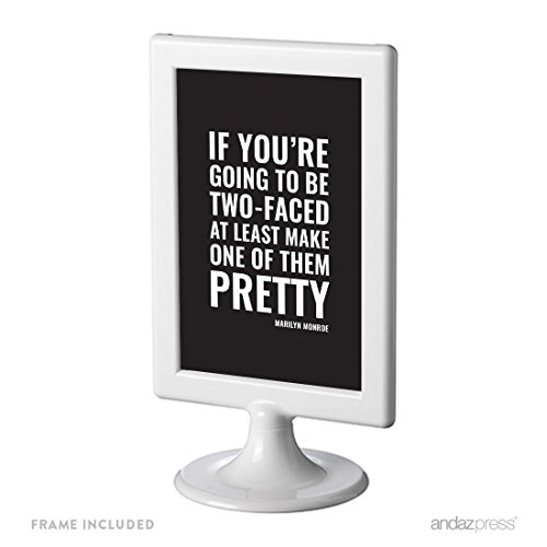 Andaz Press Funny Framed Desk Art, If You're Going To Be Two-Faced, At Least Make One Of Them Pretty, Marilyn Monroe, 4x6-inch Witty Quotes Home Office Gift Print, 1-Pack, Includes Frame -