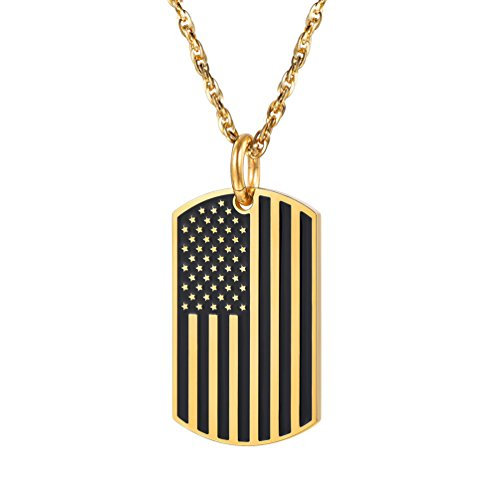 Flag Gold 18k (PROSTEEL US National Flag Pendant Necklace American Dog Tag 18K Gold Plated Patriot Women Men Jewelry Chain USA Patriotic Independence Day 4th of July)