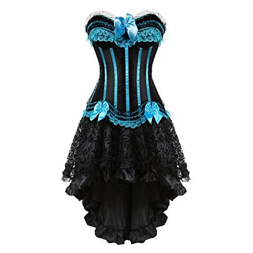 frawirshau Gothic Halloween Lace up Corset Moulin Rouge Showgirl Clubwear Fancy Dress -