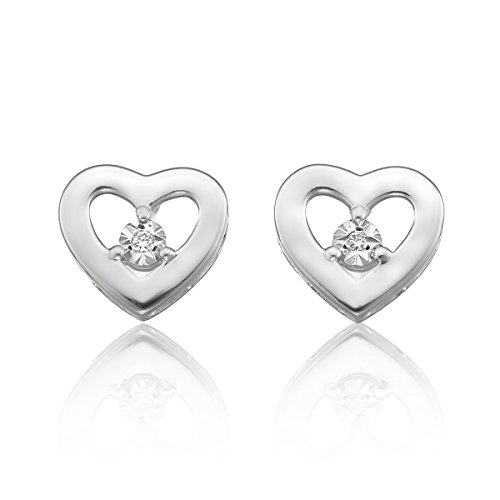 Women Heart Shaped Stud Earrings-Center Diamond (H-I Color, Single Cut) , 925 Sterling Silver by Ella Jewel
