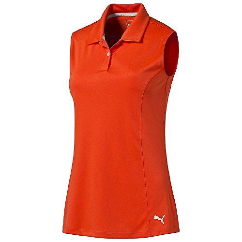 Puma Golf Women's Crest Pounce Sleeveless Polo, Cherry Tomato, Large