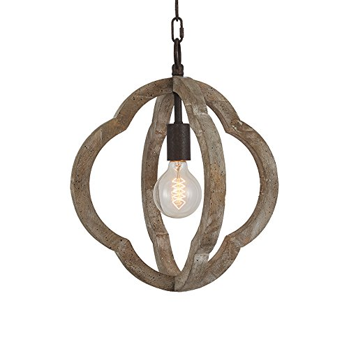 DOCHEER 1-Light Vintage Wooden Iron Chandelier Pendant Lamp Metal and Wood Frame Orb Chandelier Hanging Ceiling Mount Chandelier Lamp Home Simply Decoration UL Listed, 3 Years Warranty (Wood Light Bead Pendant)
