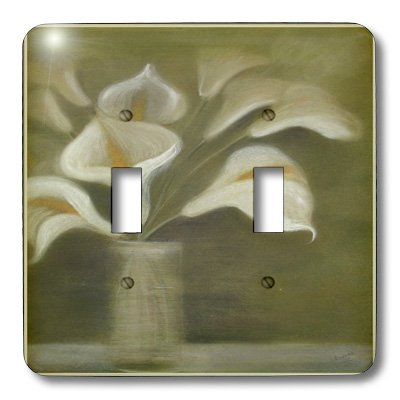 (3dRose lsp_49391_2 Callas in Vase Calla, Calla Lilies, Calla Lily, Callas, Easter Lily, Floral, Flower Light Switch Cover)