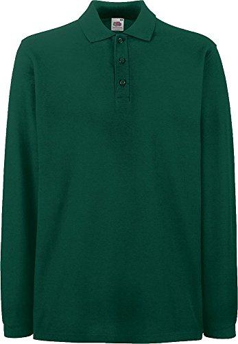 Fruit of the Loom Unisex Premium Long Sleeve Poloshirt 63-310-0 Forest Green M