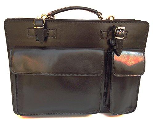 Superflybags Borsa Cartella Porta documenti Vera Pelle Made in Italy modello Classic XXL 41x30x10 nero