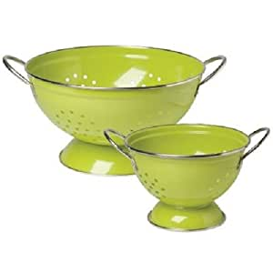 2 Piece Stainless Steel Colander Set Color: Cactus