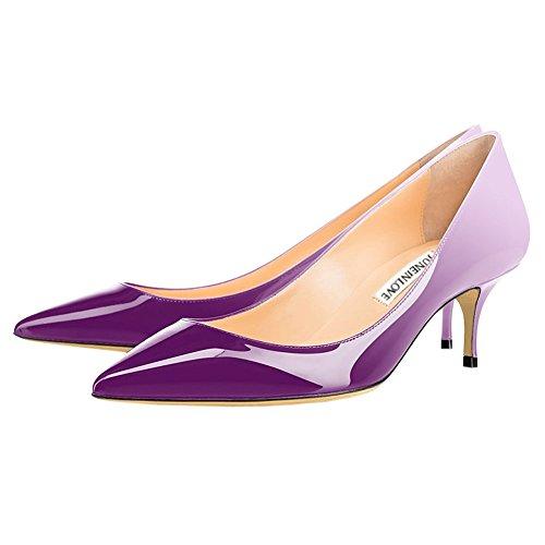 Juni I Kärlek Kvinna Kattunge Klackar Kort Smal Klack Skor Spetsiga Tå Dagligen Pumpar White & Purple