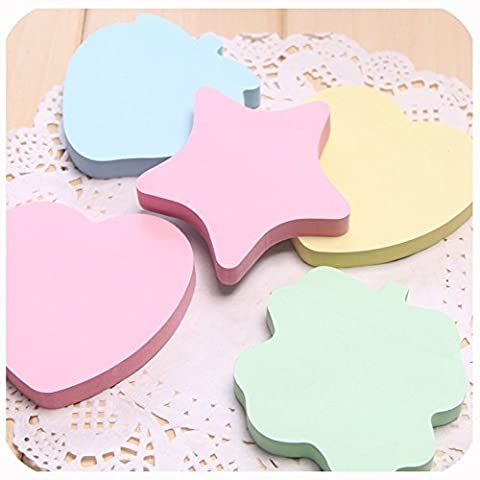 Sticky Notes Funny Memo Pad Sticker Star/Apple/Strawberry/Heart Shaped Colour Note Pad, 60 Sheets/Pad, 5 - Star Shaped Sticky Notes