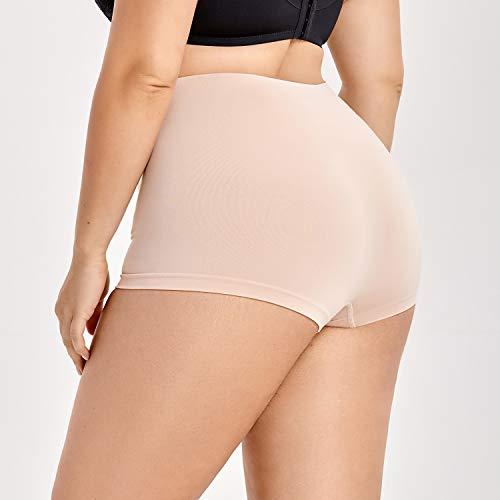 758da75e9bf3 DELIMIRA Women's Everyday Seamless Boyshort Tummy Control Shaping Panties  Beige.