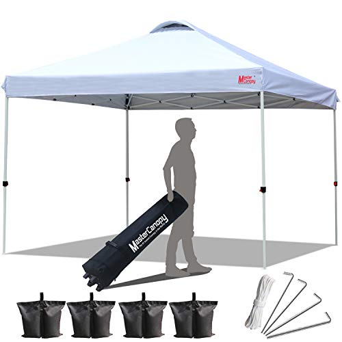 MASTERCANOPY Compact Canopy 10x10 Ez Pop up Canopy Portable Shade Instant Folding Better Air Circulation Canopy with Wheeled Bag (1-White)