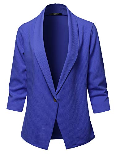 SSOULM Women's 3/4 Sleeve Lightweight Work Office One Button Blazer Jacket Royal 1X