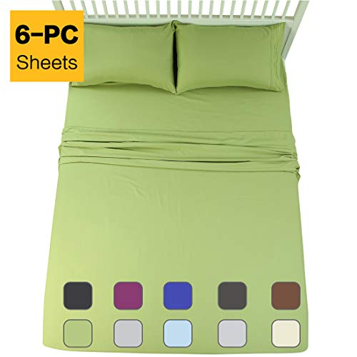 EMONIA Full Sheets Set - 6 Pieces Bed Sheets-Microfiber Super Soft 1800 Series Deep Pocket Fitted Sheets-Wrinkle and Fade Resistant (Green, Full)