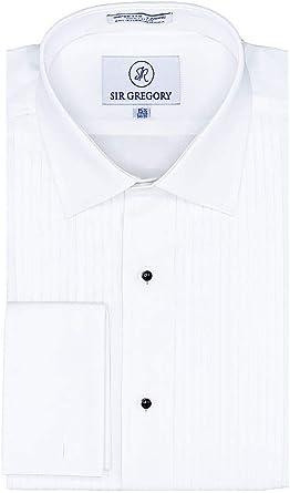 Sir Gregory - Camisa de Esmoquin para Hombre de Ajuste Regular, 100% algodón, Cuello de Pliegue francés, Plisado de 1/4 Pulgadas - Blanco - 36.83 cm Cuello 81.28 cm/83.82 cm Mangas: Amazon.es: Ropa y accesorios