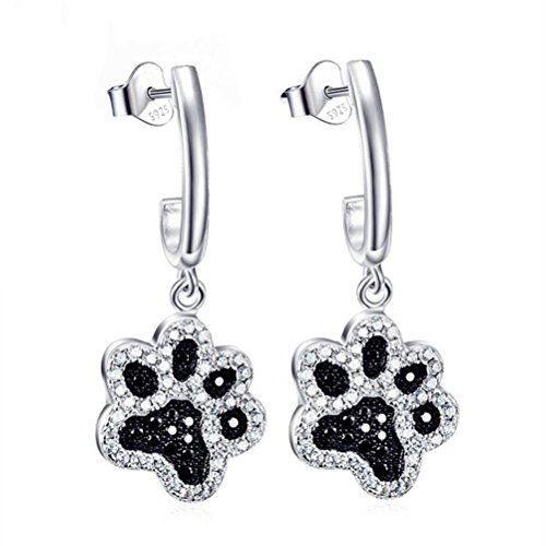 925 Sterling Silver Black & White Crystal Cat Dog Paw Print Drop Earrings Women Fashion Jewelry,Silver