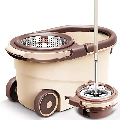 U.P.C. Pureatic by UPC Spin mop with Bucket, Stainless Steel Wringer and mop hat, 2 Refills, Easy disassembly Modular Design, Long-Life