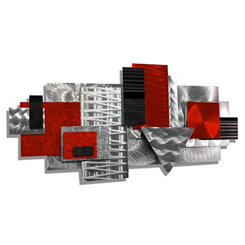 Statements2000 Silver Red & Black Contemporary Metal Sculpture - Geometric Abstract Wall Art - Handmade Wall Accent - Red Focal Point by Jon Allen ()