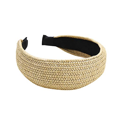 Head Wrap for Women and Girls Twist Knot Headband Vintage Boho Weave Hair Band (40X5, Yellow)]()