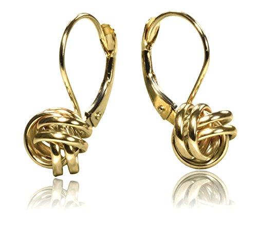 14K Gold Love Knot Lever Back Earrings 8mm
