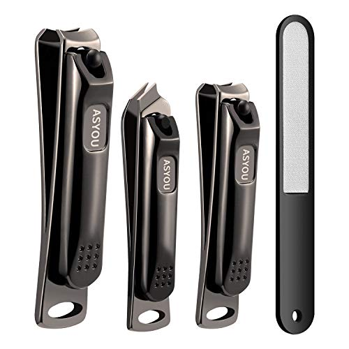 ASYOU Nail Clippers Set, Black Nail Clippers,Toenail Clipper, Beveled nail Clippers, Stainless Steel, Good Gift for Women and Men (4 PCS)