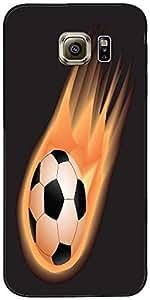 Snoogg Diseñador Fuego Fútbol Protectora Volver Funda Para Samsung Galaxy S6
