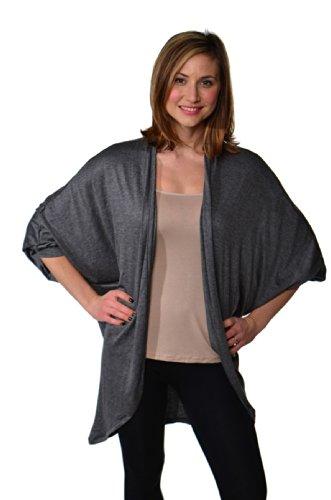 24/7 Comfort Apparel Women's Dolman Sleeve Oversized Long Shrug CF317-SMOKE-XL