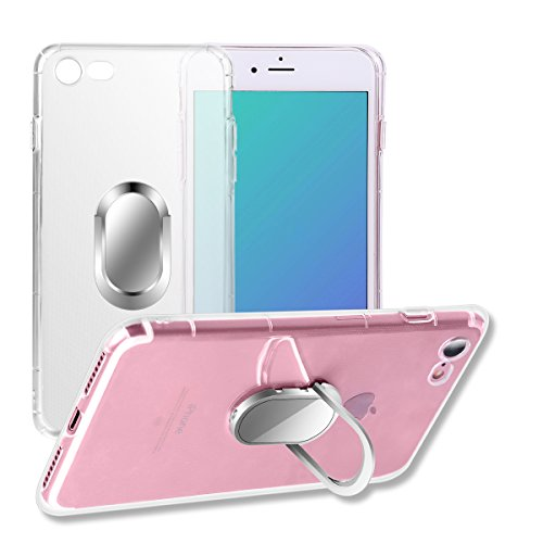 iPhone 8 Case/iPhone 7 Case, with Ring Holder Kickstand Function, 360 Degree Rotating Ring Holder Grip Case with Magnetic Car Mount Soft TPU Cover for iPhone 7/7S/8 (Transparent)