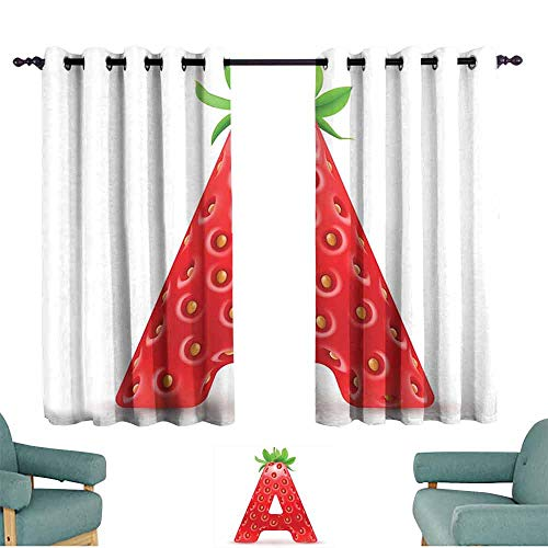 HCCJLCKS Thermal Insulated Drapes for Kitchen/Bedroom Letter A Letter A in Strawberry Style with Green Leaves Alphabet Fun Food Theme Simple Style W55 xL63 Vermilion Green Orange