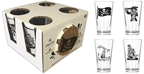Corkology.com 417-1 Pirates Pint Pack with Matching Coaster Set, Clear