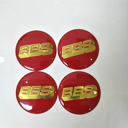 4pcs 70mm Red Gold Wheel Center Caps Decal Sticker Badge Emblem Cover BBS
