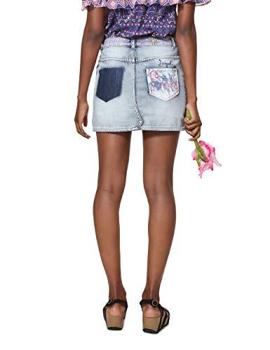Woman Skirt denim Short Jupe Roses Bleach Blue Desigual 5163 Soft Bleu Femme ZO4Wnx4w