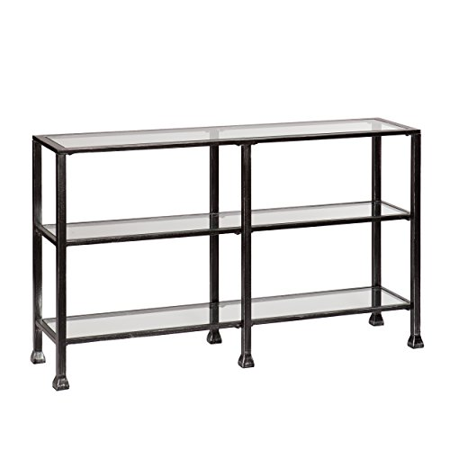 Southern Enterprises AZ1778MC Three Tier Glass Console Table, Black Metal Distressed Finish