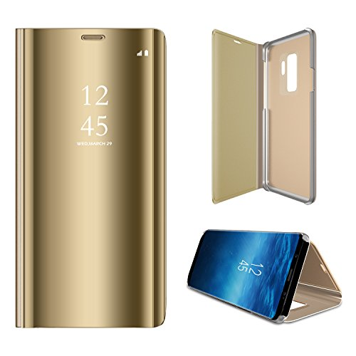 Galaxy S9 Plus Mirror Case Translucent Flip Full Protection Electroplate Plating Stand[Smart Dormancy&Awakening/Caller ID Display/Clock Showing] for Samsung Galaxy S9+ - PC and PU Leather (Golden)