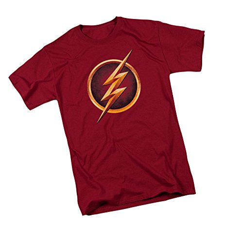 (DC Comics The Flash Logo - CW's The Flash TV Show Adult T-Shirt, X-Large Red)