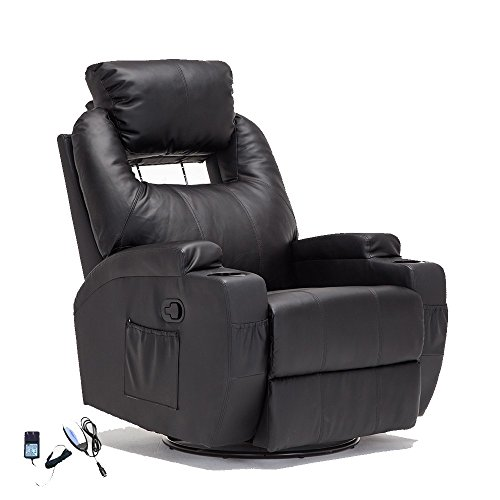 Superbe SUNCOO Massage Recliner Bonded Leather Chair Ergonomic Lounge Heated Sofa  With Cup Holder 360 Degree Swivel (Manual Recliner Black 11 IN 1)