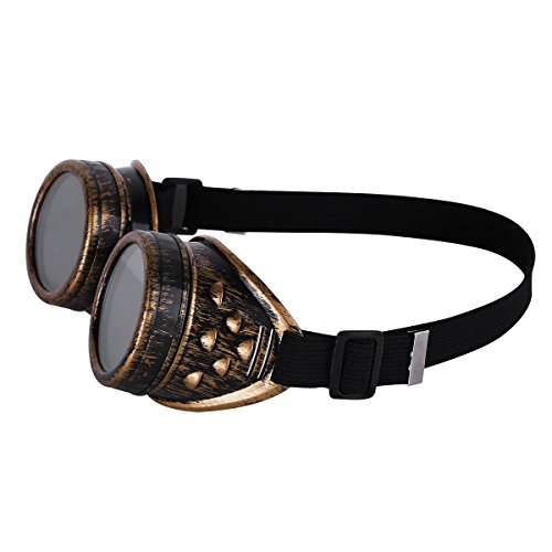 Goth soldadura gafas Rave Brass Steampunk Gótico Baño Redondo Vintage gafas Rústico de Cyber Cosplay Victorian Sol De w46X4Pq8
